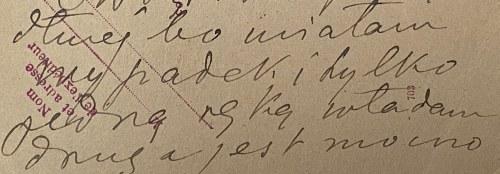 Karta pocztowa Marii Mickiewicz- wnuczki Adama Mickiewicza