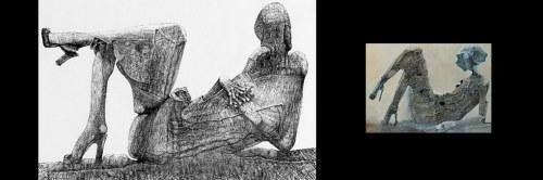 Zdzisław Beksiński - Kobieta w klapkach - rysunek modyfikowany komputerowo (2000-2004r.)