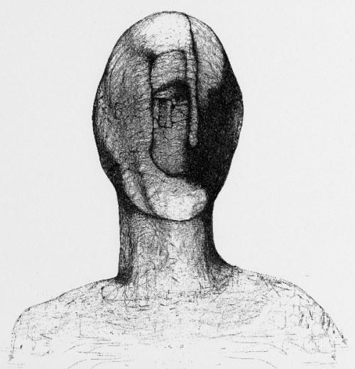 Zdzisław Beksiński - Twarz - rysunek modyfikowany komputerowo (2000-2004r.)