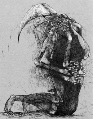 Zdzisław Beksiński - Modlitwa - rysunek modyfikowany komputerowo (2000-2004r.)