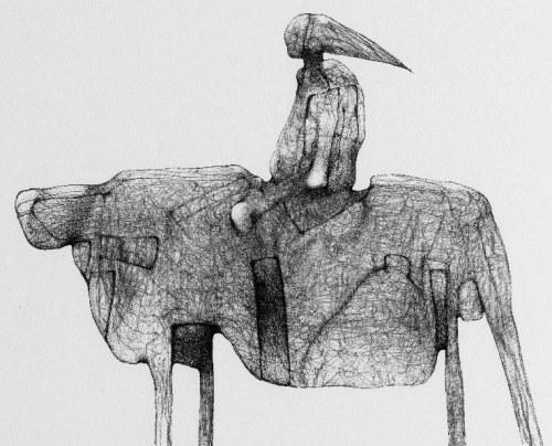 Zdzisław Beksiński - Jeździec - rysunek modyfikowany komputerowo (2000-2004r.)