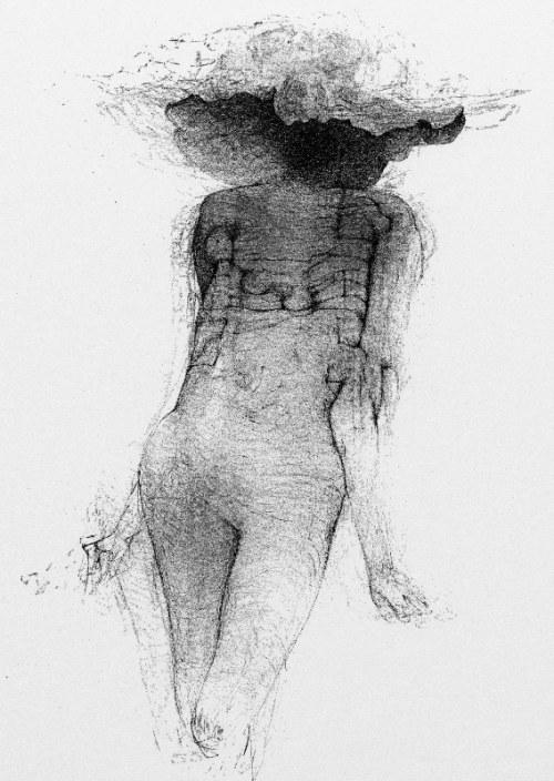 Zdzisław Beksiński - Kobieta w kapeluszu - rysunek modyfikowany komputerowo (2000-2004r.)