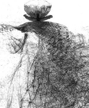 Zdzisław Beksiński - Postać w kapeluszu - rysunek modyfikowany komputerowo (2000-2004r.)