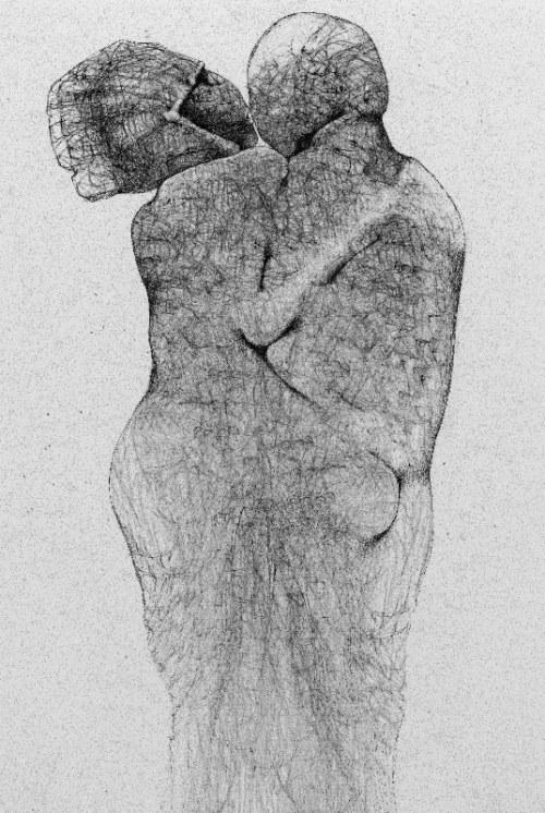 Zdzisław Beksiński - Para - rysunek modyfikowany komputerowo (2000-2004r.)