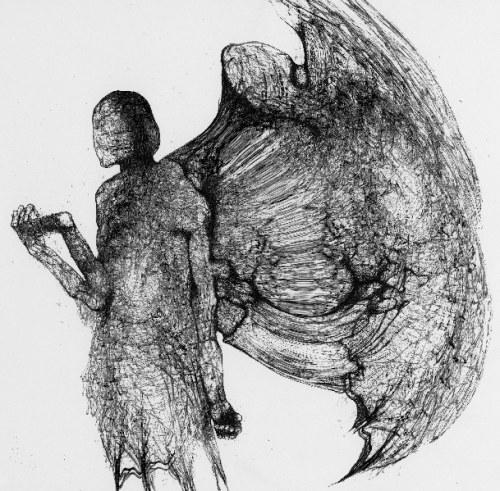 Zdzisław Beksiński - Anioł - rysunek modyfikowany komputerowo (2000-2004r.)