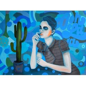 Marcin Painta, Ona i kaktus w niebieskich kolorach, 2019