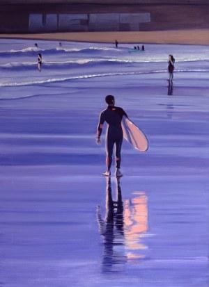Maciej Majewski, Le surfeur avec un surfoboard rose, 2021