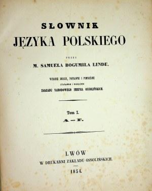 Linde SŁOWNIK JĘZYKA POLSKIEGO Lwów 1854-60 KOMPLET