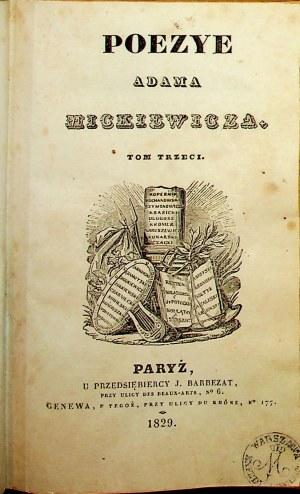 MICKIEWICZ KONRAD WALLENROD WIERSZE RÓŻNE POEZYE TOM 3 PARYŻ 1829