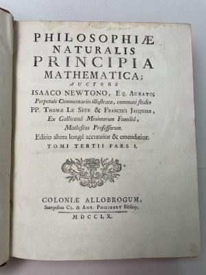 Newton Isaac Philosophiae naturalis principia mathematica tom III, 1760