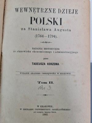 Korzon Tadeusz WEWNĘTRZNE DZIEJE POLSKI ZA STANISŁAWA AUGUSTA tom 2 WYD.1