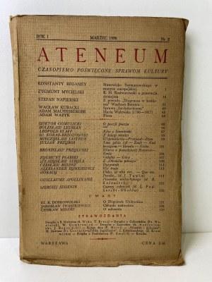 ATENEUM. Czasopismo poświęcone sprawom kultury. Rok I, nr 2, marzec 1938 r.