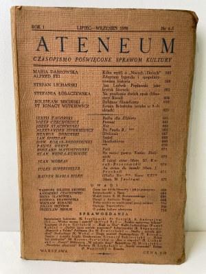ATENEUM. Czasopismo poświęcone sprawom kultury. Rok I, nr 4-5, lipiec-wrzesień 1938 r.