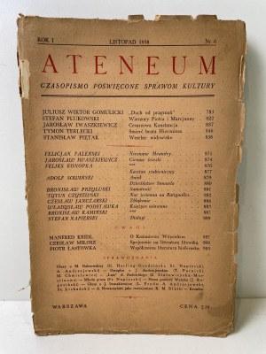 ATENEUM. Czasopismo poświęcone sprawom kultury. Rok I, nr 6, listopad 1938 r.