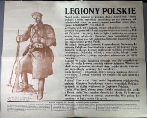 LEGIONY POLSKIE - PLAKAT WERBUNKOWY DO LEGIONÓW POLSKICH - WIELKA RZADKOŚĆ STAN ZNAKOMITY