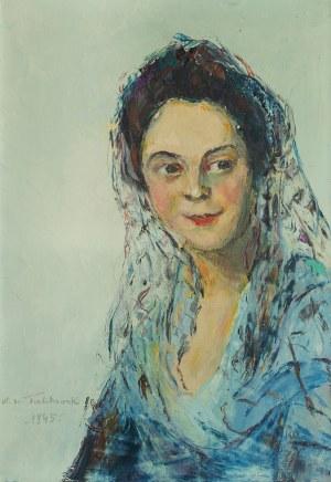 Włodzimierz Terlikowski (1873 wieś pod Warszawą - 1951 Paryż), Kobieta w mantylce, 1945 r.