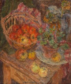 Eugeniusz Eibisch (1896 Lublin - 1987 Warszawa), Martwa natura - kwiat w doniczce i owoce