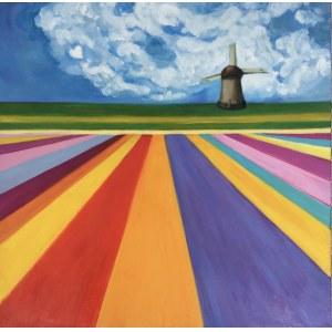 Inez White (ur. 1966), Pejzaż z wiatrakiem, 2021