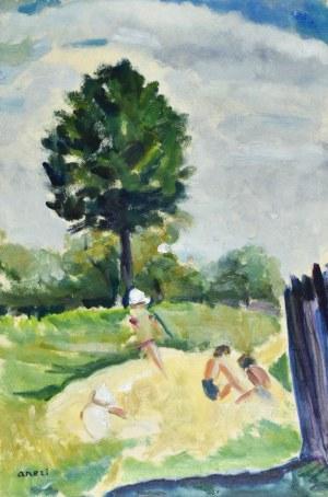 Irena WEISS – ANERI (1888-1981), Dzieci w ogrodzie (Pejzaż)