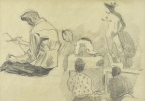 Stanisław KAMOCKI (1875-1944), W pracowni lekcja rysunku z kopii Dawida Donatela, III 1941(?)