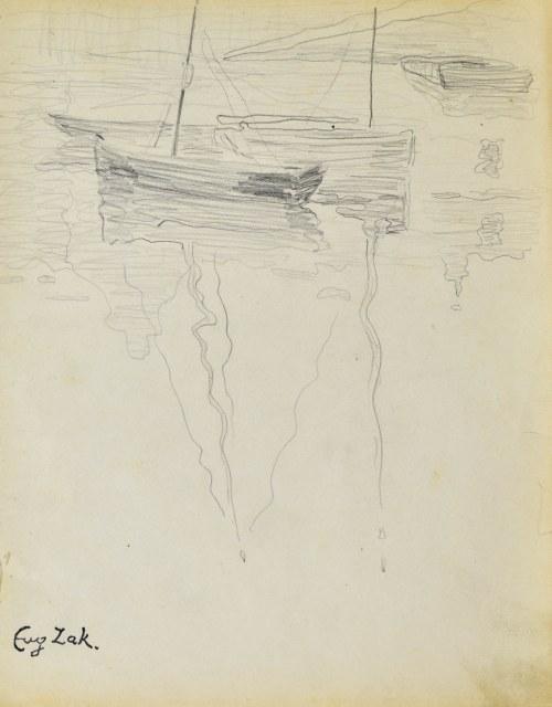 Eugeniusz ZAK (1887-1926), Zacumowane łodzie (Pont - Aven?)