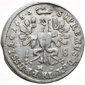 Prusy (księstwo), Fryderyk Wilhelm, ort 1685 HS, Królewiec, rzadka końcówka legendy na awersie ELEC