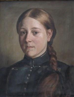 artysta nierozpoznany,Portret kobiety z warkoczem,
