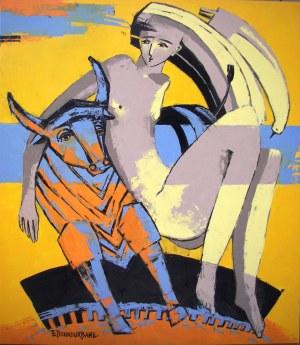 Elżbieta Boukourbane, Nad rzeką z bykiem, 2021