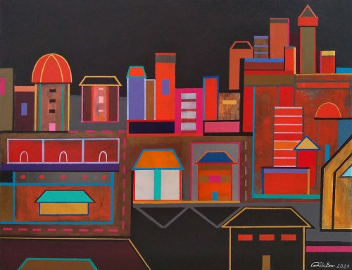 Grażyna Kilanowicz- Barecka (ur. 1955), Kompozycja miejska w czerwieniach, 2021