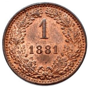 Konvenční a spolková měna, 1 krejcar 1881 b.z.
