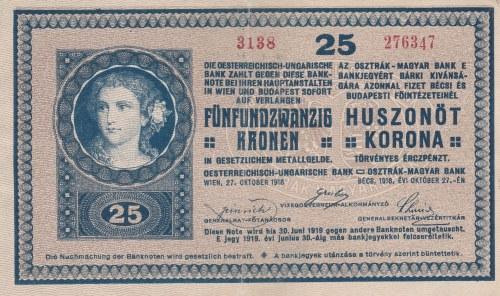 Rakousko-Uhersko, 25 K (27.10.1918), série 3133