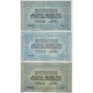 Československo - státovky I. Emise, 1 Kč 1919, série 161, 163, 271, B.7, He.7a, 3ks, vše neperf.