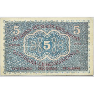 Československo - státovky I. Emise, 5 Kč 1919, série 0052, B.8, He.8a, neperf.