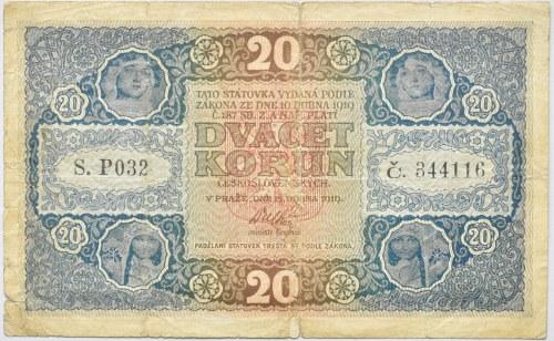 Československo - státovky I. Emise, 20 Kč 1919, série P 032 č.344116, B.10, He.10a., nep.prodřená, neperf.