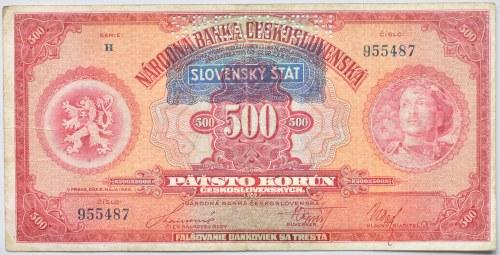 Slovensko 1939-1945, 500 Ks 1929 - přetisk 1939