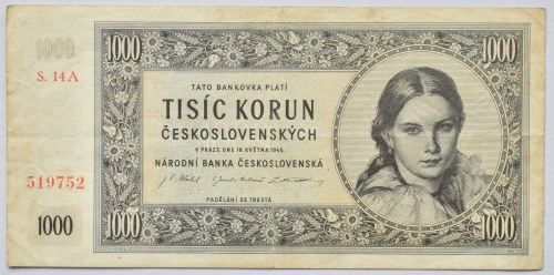 Československo - bankovky a státovky 1945 - 1953, 1000 Kč 1945