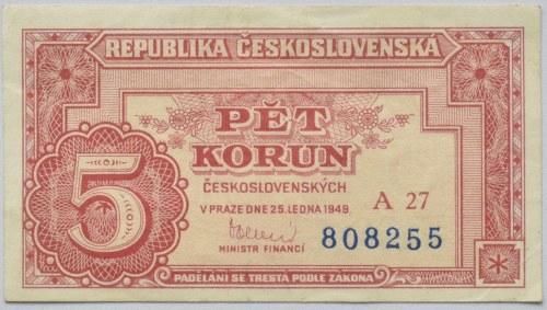 Československo - bankovky a státovky 1945 - 1953, 5 Kč 1949