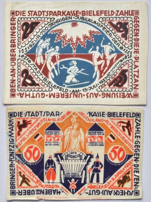 Německo - nouzovky z jiných materiálů, 50 marek 1922, 25 marek 1921, obě hedvábí