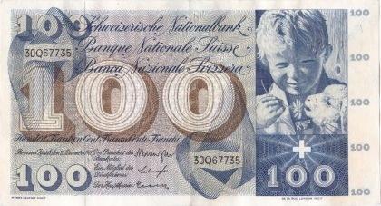 Zahraničí, Švýcarsko, Švýcarsko, 100 Frank (1961)