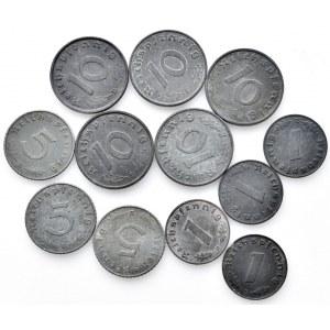 Německo - III. Říše, 10 pfennig 1940, 41, 42, 43, 44, 5 pfennig 1940, 41, 42 R, 1 pfennig 1941, 42, 43, 44, Zn, vše B,
