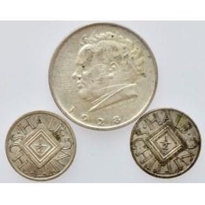 Rakousko republika, 2 schilling 1928, Schubert, 1/2 schilling 1925, 1926, 3 ks