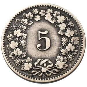 Švýcarsko, republika, 5 rappen 1876 B