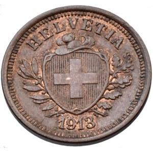 Švýcarsko, republika, 1 rappen 1913 B