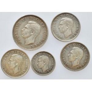 Velká Británie, George VI. 1936-1952, 1 shiling 1946, Ag500, 5.6552g, 6 pence 1939, 1944, 1946, Ag500, 2.8276g, 3 pence 1938