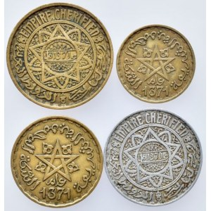 Maroko, Mohammed V. 1927-1962, 50 francs 1952, 20 francs 1952, 10 francs 1952, 5 francs 1951