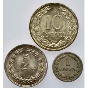 Salvador, 10 centavos 1952, 5 centavos 1966, 1 centavo 1940