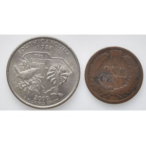 USA, 1/4 dolar 2000 Carolina, 1 cent 1895 - Indián