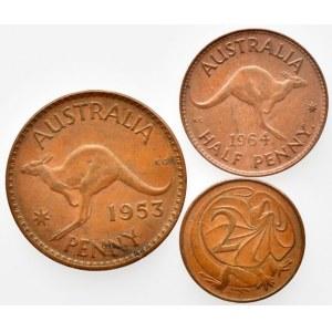 Austrálie, Elizabeth II. 1952 - 1 penny 1953, KM# 50, 1/2 penny 1964, KM# 61, 2 cents 1966