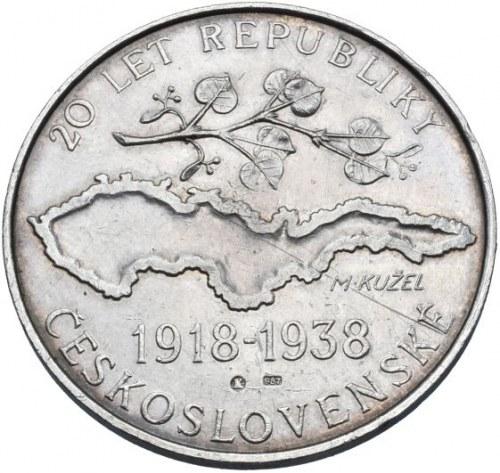 Medaile dle autorů, Kužel M., Praha - 20 let republiky a X.všesokolský slet 1938 - mapa republiky