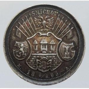 Medaile hospodářské, AR medaile 30mm, 13,27g Na paměť první národopisné a řemeslnicko-živnostenské výstavy 1893 v Praze na Smíchově, vydal Chaura